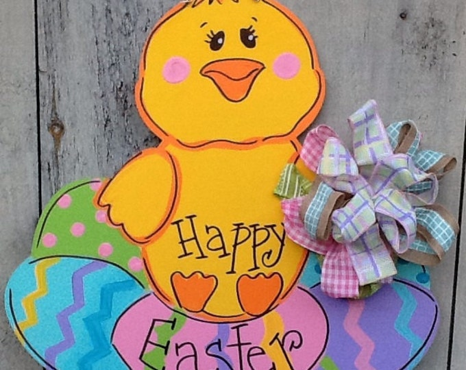 Easter chick door hanger, easter door hanger, spring door hanger, Easter egg door hanger, Easter door sign, Easter sign, Easter door hanger