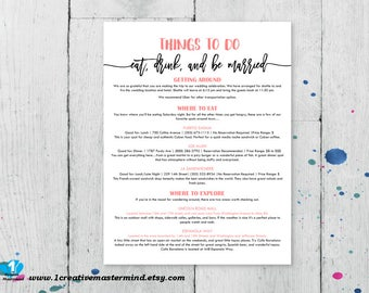 DIY Wedding Typography Welcome Bag Things to do Note, Printable itinerary, Activities note, Instant Download, Editable Template