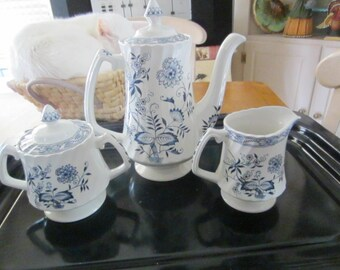 BLUE FJORD Wood & Sons England Old Staffordshire Coffee  Tea Pot with Creamer and Sugar Bowl - Mint