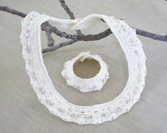 Beaded crochet jewelry, white wedding neclace,  beaded crochet cuff, wedding jewelry