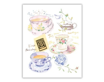 Tea print, Watercolor tea cup painting, Tea poster, Kitchen print, Pastel home decor, Tea art, Blue Kitchen Wall art, Paris decor French art