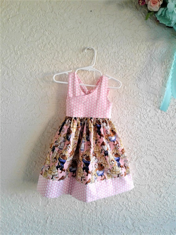 Disney Beauty and the Beast Dress, Belle Dress Disney Princess, Disney baby dress,Disney Toddler dress,Birthday Dress, FREE SHIPPING