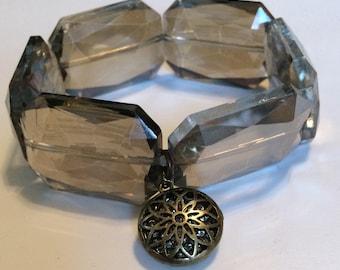 Large Smokey Crystal Stretch Bracelet