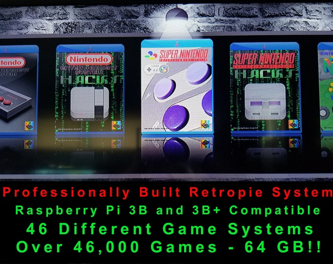 Professional Retropie Micro SD Card 64 GB Build Raspberry Pi 3b & 3b+ Compatible - Kodi, Chromium Browser, Pixel Desktop - TONS of Games!!!