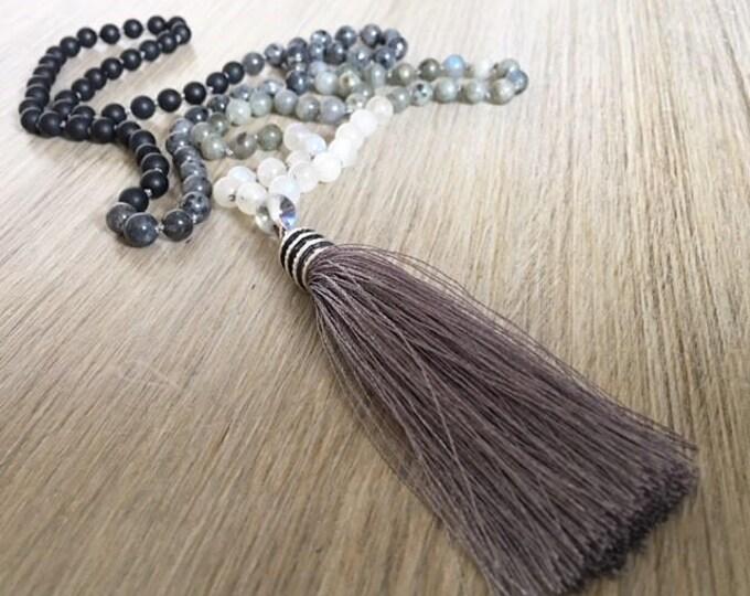 Labradorite Moonstone Onyx Tassel Mala Beads, 108 Mala, Gemstone, Handmade, Hand-knotted, Meditation, Yoga, Prayer Beads, Chakra