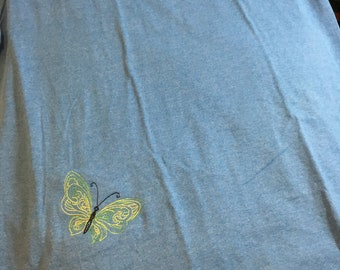 T-shirt, ready to ship, Butterfly shirt, Shirt, Butterfly, Henna Butterfly Shirt, embroidered Shirt