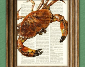 Cool RED CRAB beautifully upcycled dictionary page book art print