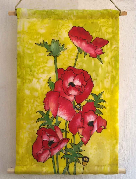 Red poppies wall art wall decor home decor silk painting