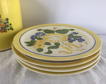 """Vintage Redwing Pottery Brittany Pattern set of 4 10"""" Dinner Plates / 1940's"""