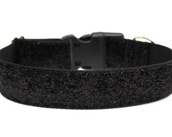 "Black Glitter Dog Collar 1.5"" Large Dog Collar Black Dog Collar"