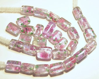DESTASH -- 29 Pale Lavender Lampwork Glass Tube Beads with Pink Rosebuds and Green Leaves  -- Lot 3Q