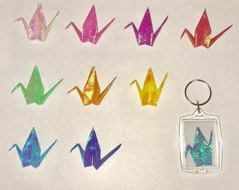 Handmade Lucky Origami Paper Crane Keychain- Choose 1 Color