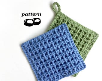 Crochet Dishcloth Pattern / Beginner Crochet Pattern Waffle Dishcloth Thick Kitchen Hotpad Scourer