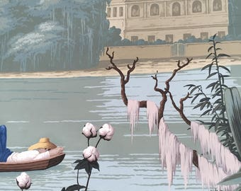Panoramic handpainted wallpaper: American River View, one standard roll of 3 by 8 ft, custom size available