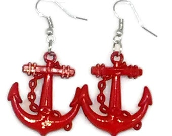 Red Patriotic Anchor Earrings