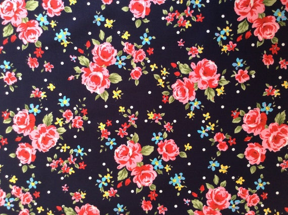 High quality cotton poplin printed in Japan, roses on navy
