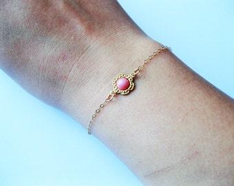 Teeny Tiny flower bracelet, pink flower bracelet, tiny bracelet, tiny pink bracelet, minimalist bracelet, gold tiny bracelet, cute