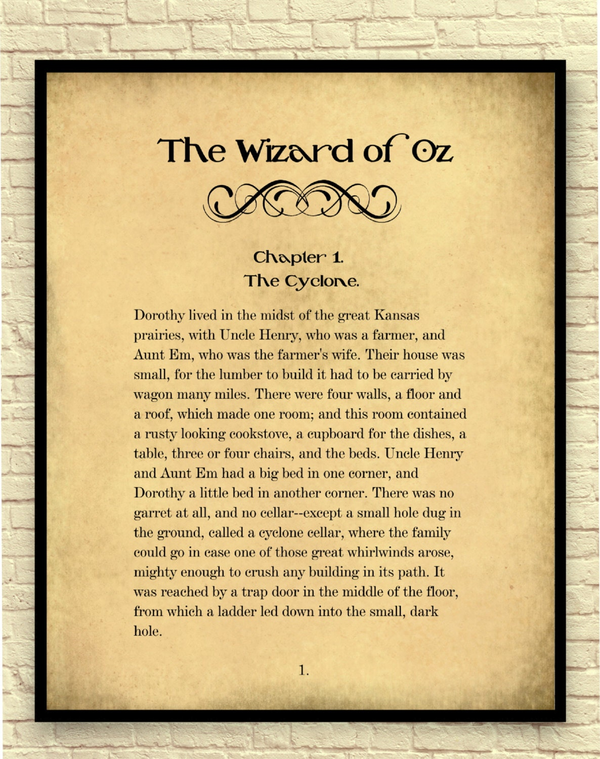 The Wizard of Oz Art Print Wizard of Oz Wall Art Book Page