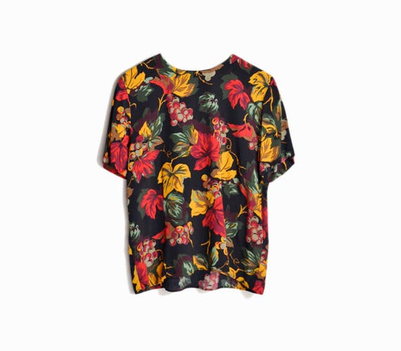 Vintage 90s Autumn Leaves Blouse / Black Floral Top - women's small