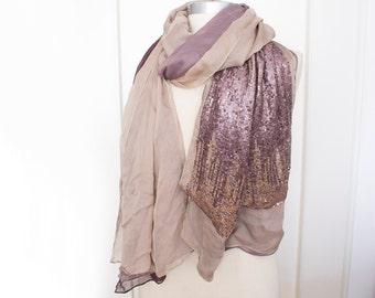 Rose Gold-Pailletten-Schal, übergroße Chiffon Schal, Jahrgang Rosegold Lagenlook Rose Pailletten Chiffon-Schal, Schal, Ombre Pailletten-Schal