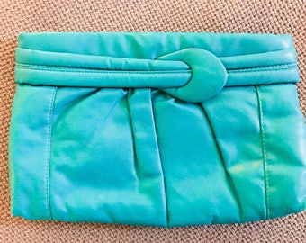 Vintage Turquoise 1980's Clutch Wristlet