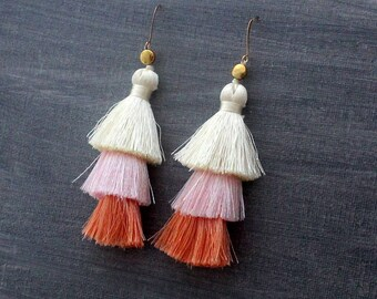 Tiered Tassel Earrings, Ombre Tassel, White Tassel Earrings, Blue Tassel Earrings, Statement Earrings, Pink Tassel Earring, Fringe Earrings