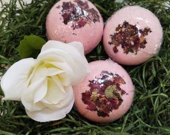 Rose Bath Bomb, Lush Bath Bomb, Handmade Bath Bomb, Bath Fizzy, Gifts For Her, Gifts For Him, Anniversary Gift,  5.5 oz