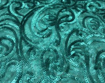 Swirl Teal Sequin