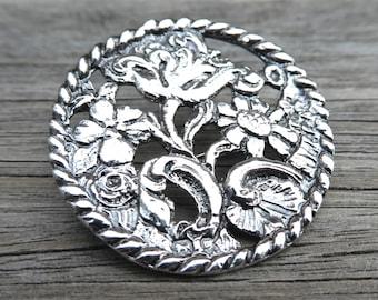 Art Nouveau Floral Button Brooch
