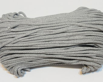 Grey cotton cord 100 m (110 yd) 5 mm (0,2 in), cotton rope, macrame cord