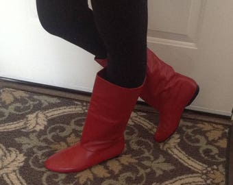 "Vintage ""Cobbies"" Red Leather Boots"