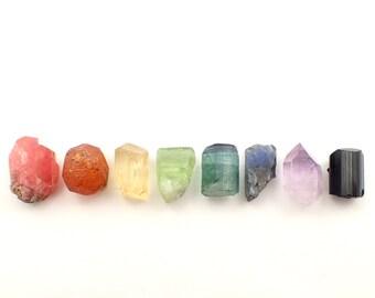 Spectrum Crystal set - Rhodochrosite, Spessartine Garnet, Scapolite, Peridot, Blue Tourmaline, Tanzanite, Amethyst and Black Tourmaline 113