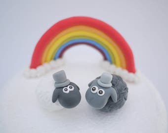 Black and White Sheep Gay Wedding Cake Topper (With or Without Rainbow)