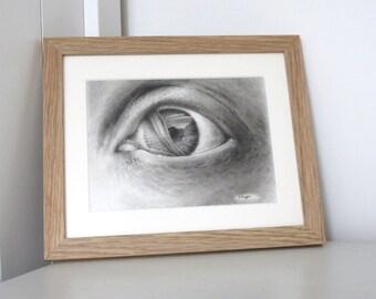 Mermaid eye drawing, original charcoal drawing, fantasy art, black and white art, pencil drawing, eye sketch, mermaid art, mermaid drawing
