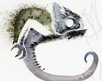 "Martinefa's Original watercolor and Ink  ""Chameleon"""
