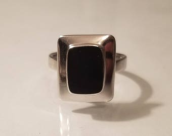 Vintage modern modernist square onyx sterling silver ring size 8