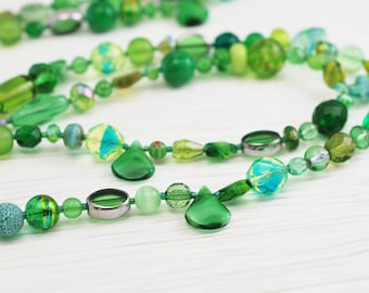 Green Necklace, Long Necklace, Beaded Necklace, Green and Silver, Silver Necklace, Handmade Necklace, Emerald, Shades of Green, Gift for Her