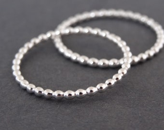 Silver Bubble Ring minimalist design dainty Stacking Ring handmade skinny sterling silver bead wire stack ring