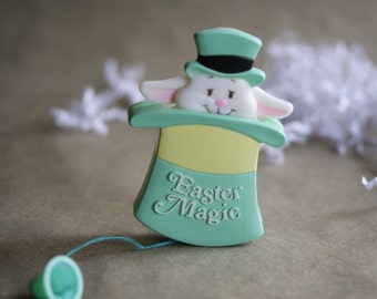 Vintage Easter Pin ,Pop Up Motion, Bunny Rabbit, Easter Magic, American Greetings, Plastic Brooch, Green Top Hat, 1980s Childs Pin
