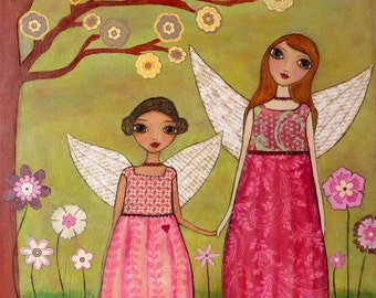Sisters, Folk Art Print, Fairy Art, Nursery Decor, Baby Girl Nursery Art by Sascalia