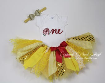 Beauty and the beast tutu outfit. Cake smash tutu. 1st Birthday tutu outfit. Fabric tutu outfit. Gold and pink tutu.