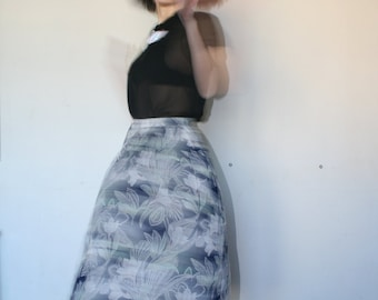 Pleated flower skirt Big flower pattern Orchid pattern blue skirt 70s (S/M)