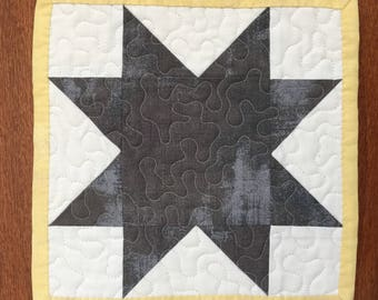 Modern Miniature Start Quilt - Square- Mug Rug - Candle Mat- Machine Quilted - Ready to ship - Mini Quilt