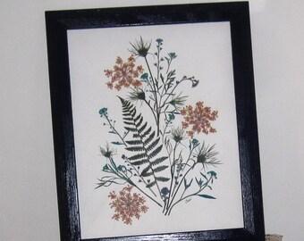 SPRING SALE:Floral, Pressed flower art in blues, 11x14, in blue wood frame