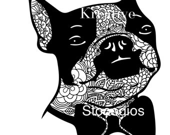 Boston terrier zentangle