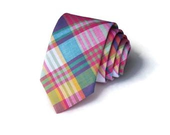 Necktie~Madras Necktie~Anniversary Gift~Wedding Tie~Boys Necktie~Mens Necktie~Wedding~Mens Tie~Boys Tie~Blue~Pink