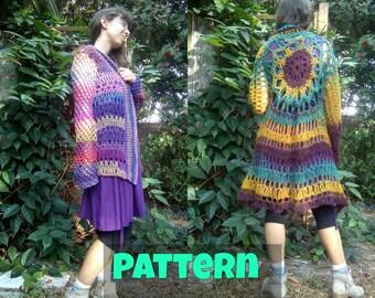 Pattern: Calyx Cardigan crochet cardigan coat jacket bohemian sunflower mandala