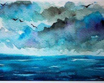 Ocean Sky Watercolor Fine Art Print