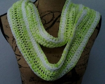 Lime and white infinity scarf