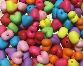 30 cute plastic candy bright colourful love heart shaped beads